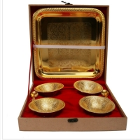 Gold Plated Bowl With Tray Set Of 4