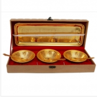 Gold Plated Bowl With Tray Set Of 3