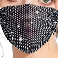 Sparkly Rhinestone Mesh Mask