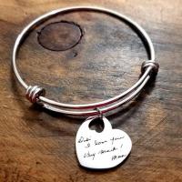 Customised Brass Letter Etched Charm Bracelets