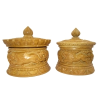 Round Wood Carving Jewelry Box