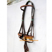 Eye Catchy Silver Bead Show Snaffle Bridle