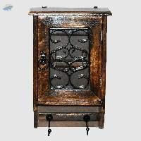 Wooden Two Hook Key Box