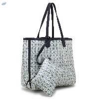 Pu Coated Printed Leather Handbag With Pouch